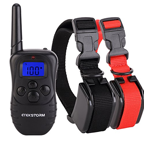 EtekStorm-Dog-Training-Collar-With-Remote-Rechargeable-Rainproof-LCD-Screen-330-Yard-BeepVibrationShock-Electric-Train-Collars-For-SmallMediumLarge-PetsDogsFor-2-Dogs