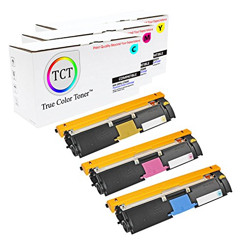 TCT Premium Compatible Toner Cartridge Replacement for QMS 2500 Konica Minolta Magicolor 2500W 2530DL 2550 Printers (Cyan, Magenta, Yellow) - 3 Pack