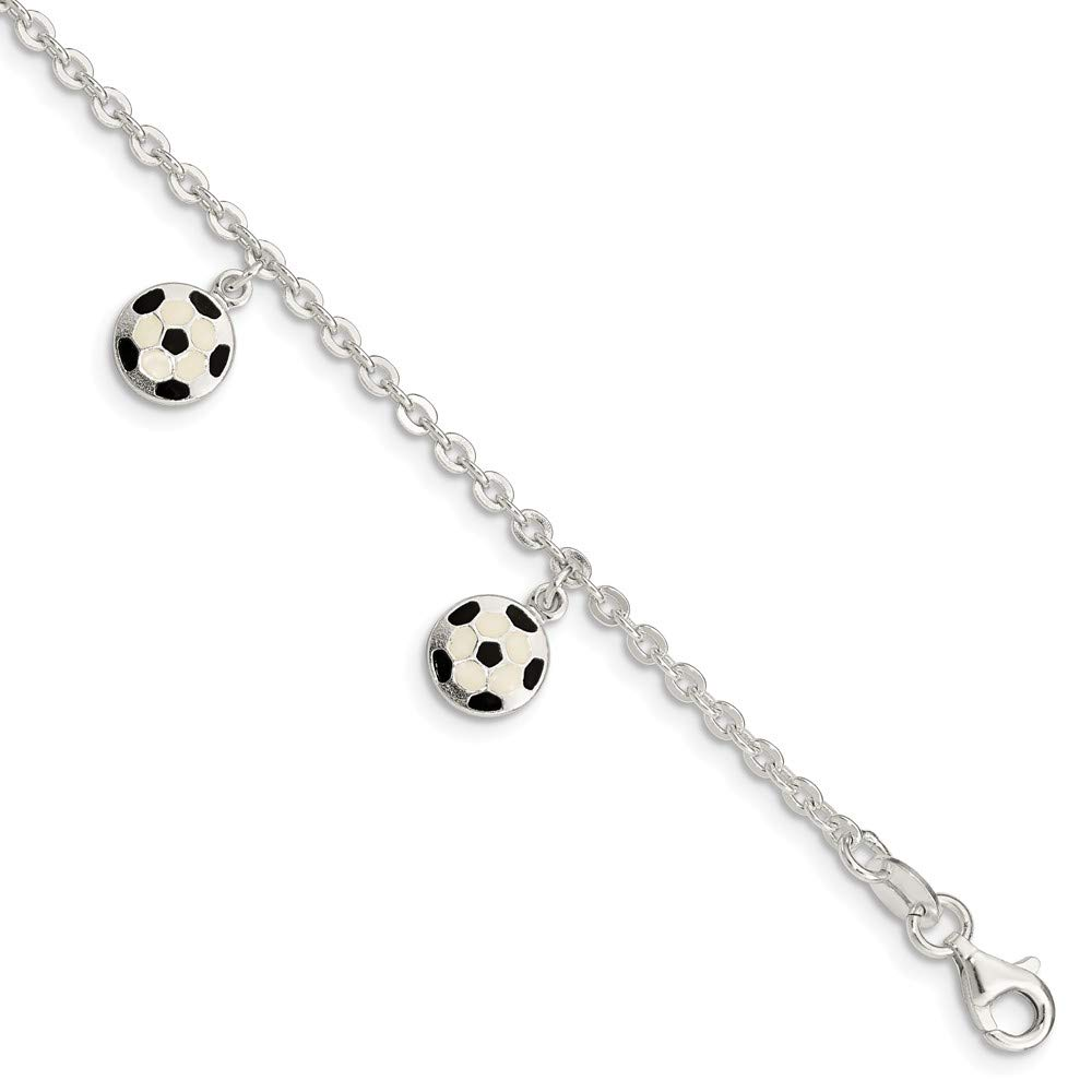 925 Sterling Silver Enameled Soccer Ball 5 Inch 1 Extension Bracelet 6 Fine Jewelry Gifts For Women For Her