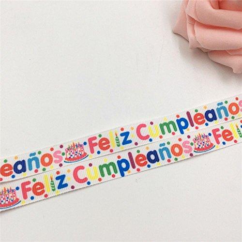 Feliz Cumpleaños Printed Grosgrain Happy Birthday Ribbon, 4.5-Yard 5/8-Inch, (Damask Favor Cards)