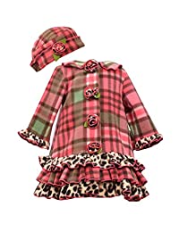 Bonnie Jean Baby-girls Coral Plaid Coat and Hat Set