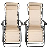 FCH (2-PACK) Folding Adjustable Zero Gravity Recliner Chair Outdoor Lounge Patio Pool Beach Yard Chair With cup holder/Utility Tray (TAN) Review