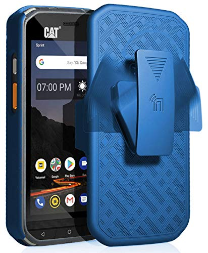 CAT S48c Case with Clip, Nakedcellphone [Cobalt Blue] Kickstand Cover with  [Rotating/Ratchet] Belt Hip Holster Combo for Caterpillar CAT S48c Phone