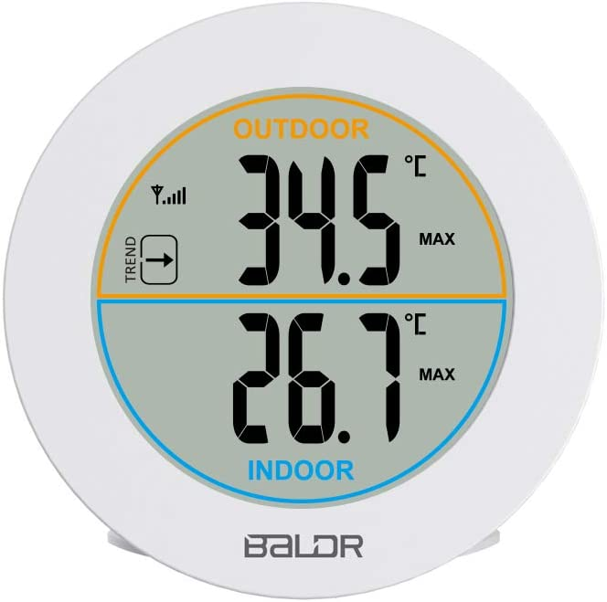 MOZARD Wireless Indoor/Outdoor Thermometer with Sensor Wall Table livingroom Bedroom Temperature Monitor Meter with Max/Min Records, Trend Arrows,White (White)
