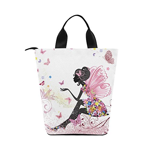 InterestPrint Butterfly Fairy Girl Flower Nylon Cylinder Lunch Bag Tote Shopping Handbag, Floral Pink Reusable Large Lunchbox Grocery Bag