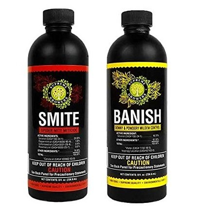 Supreme Growers Smite and Banish 8oz Concentrate Bundle All Natural Pesticides Spider Mite Killer Fungicide Downey & Powdery Mildew Control (Smite 8oz Makes 8 Gallons, Banish 8oz Makes 60 Gal)