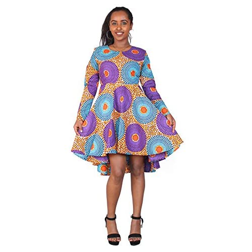 New FANS FACE African Printed Women Long Sleeve Swing Pleated Skirt Midi Dress Dashiki Party Casualwear hot sale