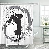 Emvency Waterproof Shower Curtain Curtains Black Dance Dancing Silhouette Breakdance Street Hip Hop Dancer Jeans Music Break 66''x72'' Decorative Bathroom Odorless Eco Friendly Anti Bacterial