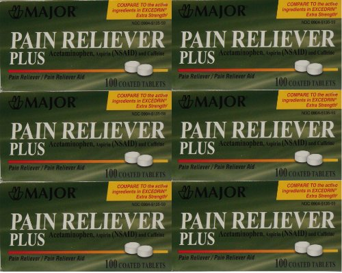 Headache Pain Relief Generic for Excedrin Extra Strength Acetaminophen Aspirin & Caffeine Tablets 100 Per Bottle Pack Of 6 Total 600 Tablets