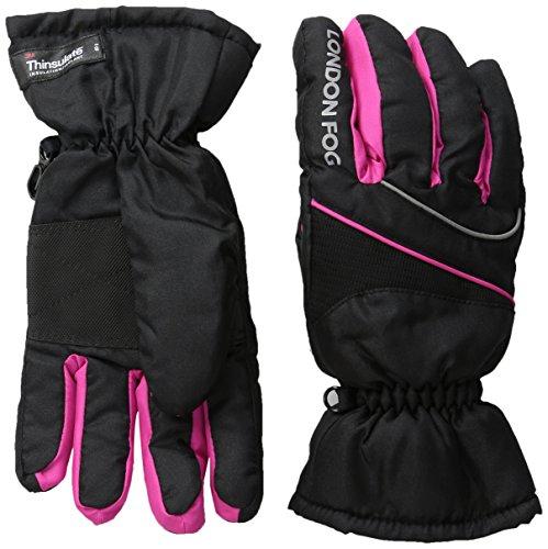 London Fog Girls' Ski Gloves, Black, 7-14 ()