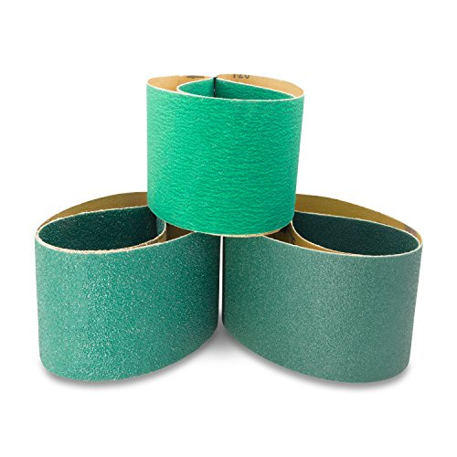 4 X 36 Inch Metal Grinding Zirconia Sanding Belts 40, 80, 120 Grits, 3 Pack Assortment