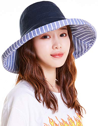 Brim Bucket Hat - Maylisacc Reversible Wide Brim Bucket Hat Foldable with Chin Cord UPF50+ Stripe-Navy