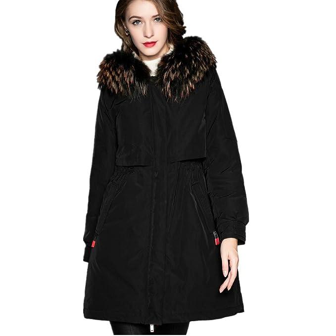 RSTJ-Sjc Chaqueta de plumón para mujer Abrigo delgado con capucha, diseño ligero con cuello de piel suave y desmontable: Amazon.es: Ropa y accesorios