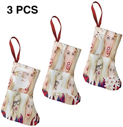 クリスマスの日の靴下 (ソックス3個)クリスマスデコレーションソックス 俳優Amber Heard クリスマス、ハロウィン 家庭用、ショッピングモール用、お祝いの雰囲気を加える 人気を高める、販売、プロモーション、年次式