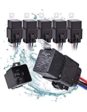 MICTUNING 40/30 Amp Waterproof Relay Harness Set - 12V 5-PIN SPDT Bosch Style Automotive Relay with Heavy Duty 16AWG 14AWG Pre-Wired Harness (5 Pack)