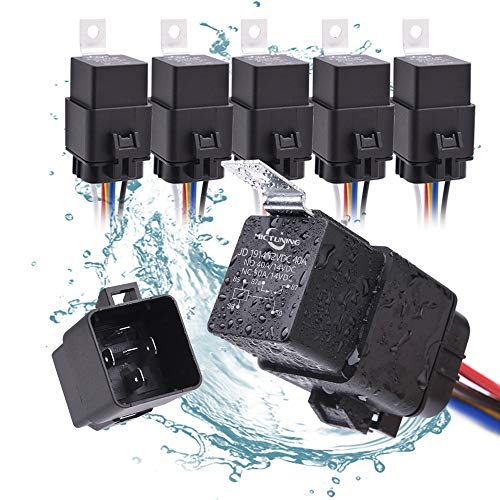 MICTUNING 12V 5 Pin Waterproof Relay Harness Set - SPDT Bosch Style Automotive 40Amp 30 Amp Relay with Heavy Duty 16AWG 14AWG Pre-wired Harness 5 pack ()