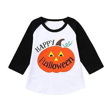 Danhjin Kid Halloween Girl Tee Boy Long Sleeve T Shirt Cotton Crewneck Cartoon Tees 1-