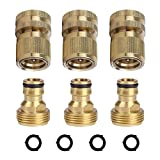 HQMPC Garden Hose Quick Connectors Garden Hose Connectors Brass Quick Hose End Connectors (3/4'' 3SETS)