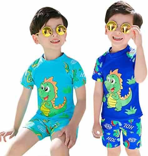 2b0a515cac QixinWluo 3Pcs Baby Boy Swimming Suit Toddler Short Sleeve Dinosaur Print  Tops+Pants+Hat
