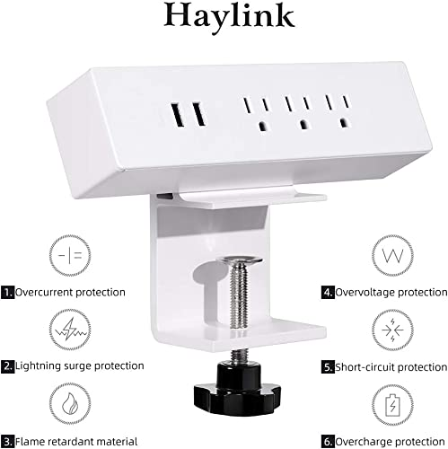 Haylink UL Approval Aluminium Alloy Clamp Desktops Sockets Power Strips 2 Port USB Charger 3 Outlet 6ft Cord Home Office Reading Public Area Table Mount Multi-Outlets Surge Protector in Desk Power