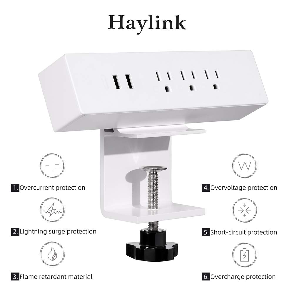 Haylink UL Approval Clamp on Desktop Sockets Power 2 Port USB Charger 3 Outlet Strip 6ft Cord Home Office Reading Public Area Table Mount Multi-Outlets Aluminum Surge Protector Desk Strip