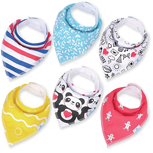 Baby Bandana Bibs for Drooling and Teething - Extra Absorbent Organic Cotton Bib for Boys & Girls by MaxamStars - 6 pack