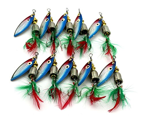 "Hengjia 10pcs/lot Rooster Tail Spinner Bait Lure with Painted Willow Blade for Bass Trout 8cm/3.15""/7.4g"