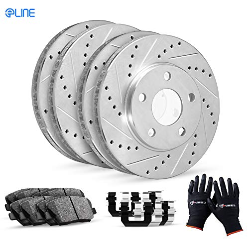 For Subaru, Scion BRZ, FR-S R1 Concepts eLine Front Rear Drill Slot Brake Rotors Kit + Ceramic Pads