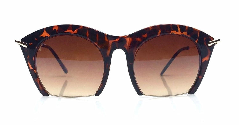 Cat Eye Oversized Semirimless Cut off Lenses Women Fashion Sunglasses