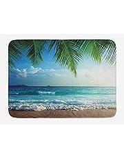 Ambesonne Ocean Bath Mat, Palms Tropical Island Beach Seashore Water Waves Hawaiian Nautical Marine, Plush Bathroom Decor Mat with Non Slip Backing, 29.5 W X 17.5 L Inches, Blue Green