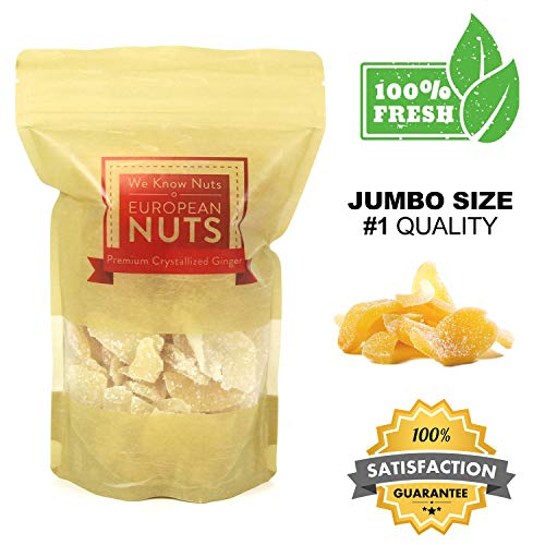 European Nuts Premium Dried Crystallized Ginger   Sweet, Spicy, Moist and Chewy Tasted   Fresh, Crunchy Sugar Coated Slices   Resealable Jumbo Bag - 2 lb