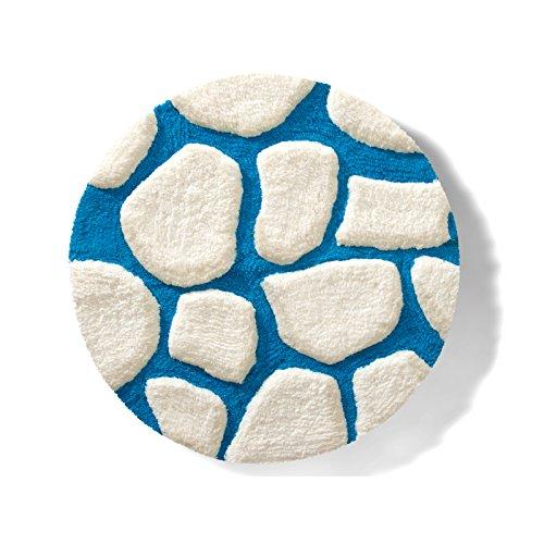 Badematte PATTY | aus flauschigem Hochflor | zum Set kombinierbar | weiß-blau | 5 Größen wählbar (rund | 100 cm)