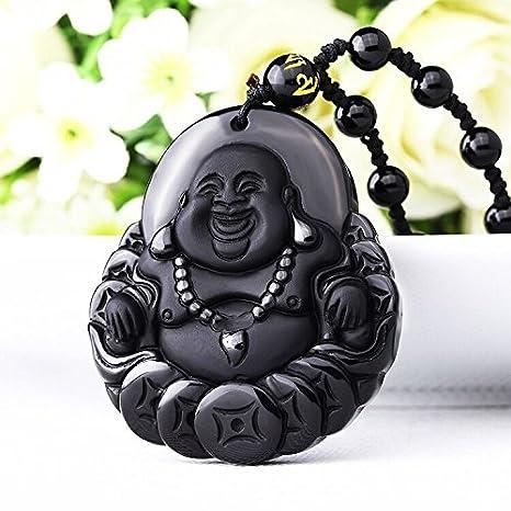 Amazon happy buddha pendant cash mascot a natural happy buddha pendant cash mascot a natural obsidian mozeypictures Images