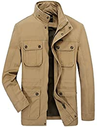Men's Casual Field Jacket Cotton Stand Collar Travels Coat Outerwear
