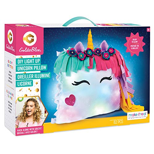 Girls Engineering Toys (Make It Real GoldieBlox - DIY Glowing Unicorn Pillow STEM DIY Arts & Crafts - Includes Sewing Kit and Color Changing)