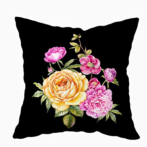 (HerysTa 20x20 Pillow Case, Home Cotton Throw Pillow Case Invisible Zipper Cushion Cases Vintage Bouquet Blooming Roses Peonies Sakura Invitation Card Square Sofa Bed Décor)