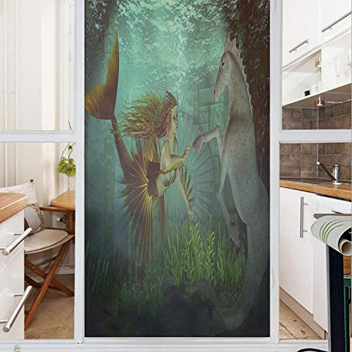 Decorative Window Film,No Glue Frosted Privacy Film,Stained Glass Door Film,Mermaid Meets Seahorse Underwater World Fantasy Magical Fairytale Design,for Home & Office,23.6In. by 78.7In Aqua Green Ambe