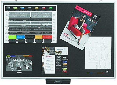 Justick JL500 Electro Adhesion Black Lite Bulletin/Notice Board; Standard Aluminium Frame to Display Anything From Notices, Reminders, Illustrations, Training Material, etc, to Organize your -