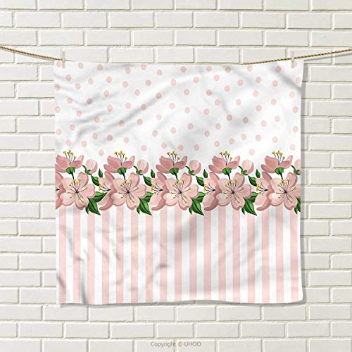 HMdy88PT Dusty Rose Square Towel Polka Dots and Stripes Quick-Dry Towels Size: W 20