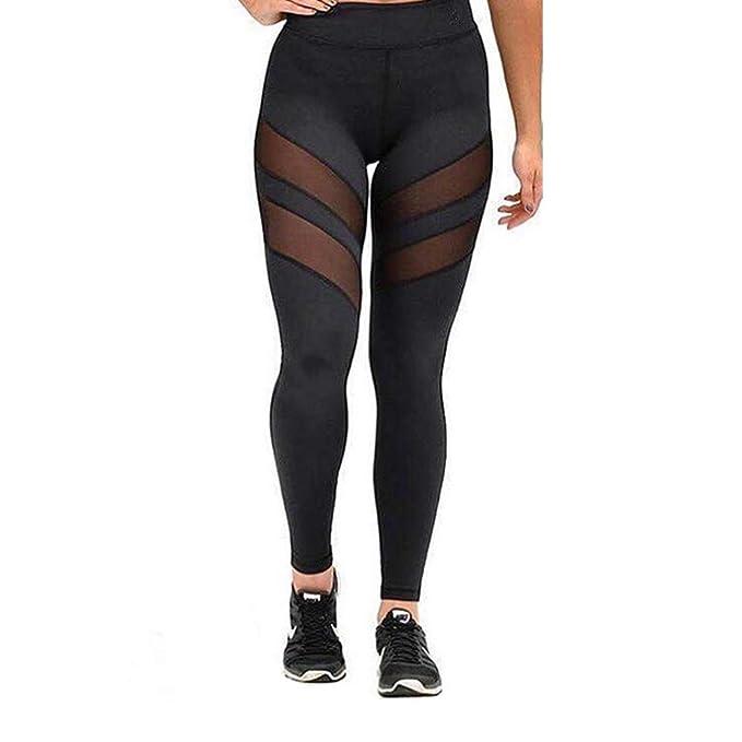 WANPUL Leggins Mujer Leggins Fitness Transpirables Leggins Yoga Cómodo Pantalon Fitness Cintura Alta Pantalon Leggins con Malla: Amazon.es: Ropa y ...