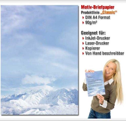 Briefpapier BERGE IM SCHNEE 50 Blatt DIN A4 Motivpapier Winter