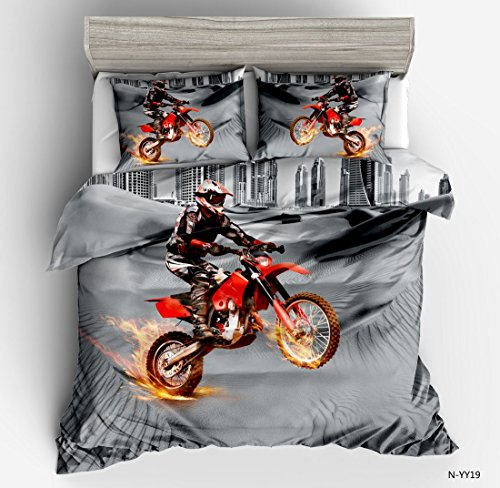 SxinHome 3d Motorcycle Quilt Cover Bedding Duvet Cover Set,3pcs 1 Duvet Cover 2 Pillowcases(no Comforter inside), Queen Size