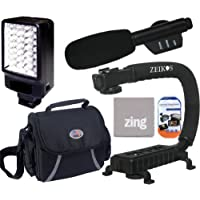 Accessory Package For Sony HDR-TD10 HDR-TD20V HDR-XR150 HDR-XR155 HDR-XR160 HDR-XR260V HDR-XR350V HDR-XR550V Camcorder Includes LED Video Light + Mini Zoom Directional Shotgun Microphone + Deluxe Medium Camcorder Case + Video Bracket Action Stabilizing Handle + More!!