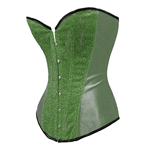 Poison Ivy Corset (Bslingerie Womens Burlesque Corset with Shiny Sequin Waist Cincher Green Size: L)