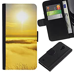 Lead-Star (Peak sunset) Colorida Impresión Funda Cuero Monedero Caja Bolsa Cubierta Caja Piel Card Slots Para SAMSUNG Galaxy S4 IV / i9500 / SGH-i337