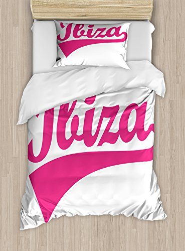 Lunarable Ibiza Twin Size Duvet Cover Set, Retro Hand Lettering Balearic Islands South Spain Cursive Writing and Stripe, Decorative 2 Piece Bedding Set with 1 Pillow Sham, Pink and White by Lunarable