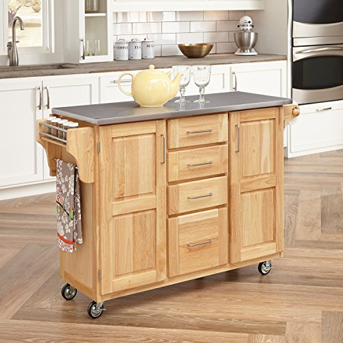 Stainless Steel Top Kitchen Cart with Breakfast Bar, Natural Finish 52-1/2-inch W by 19-1/4-inch D by 36-inch H