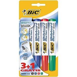 BiC Velleda 1701 - Lote de rotuladores para pizarra blanca (4 unidades)