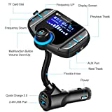 LUMAND Bluetooth FM Transmitter with QC 3.0, Wireless In-Car Radio Adapter Handsfree Car Kit with 1.7 Inch Display and USB Car Charger AUX Input TF Card Slot