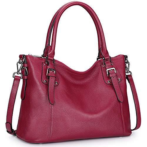 - S-ZONE Women's Vintage Genuine Leather Tote Large Shoulder Bag with Zipper Pocket Outside (Medium-Rose Red)